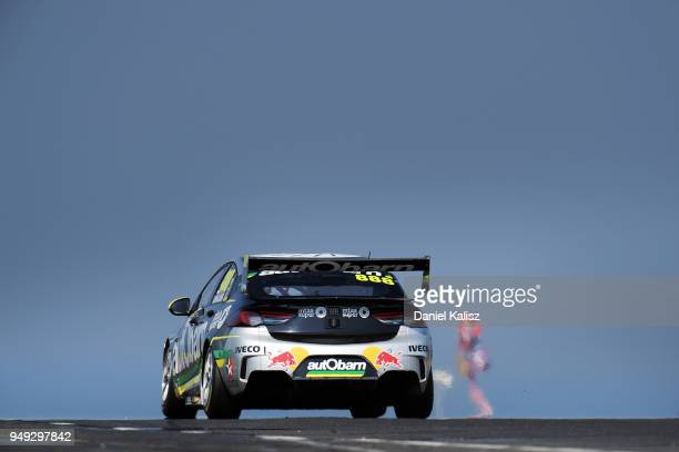 Craig Lowndes drives the Autobarn Lowndes Racing Holden Commodore ZB during the Supercars Phillip Island 500 at Phillip Island Grand Prix Circuit on...