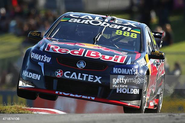 Craig Lowndes drives the Red Bull Racing Australia Holden Commodore VF during practice during the V8 Supercars Perth Supersprint at Barbagallo...