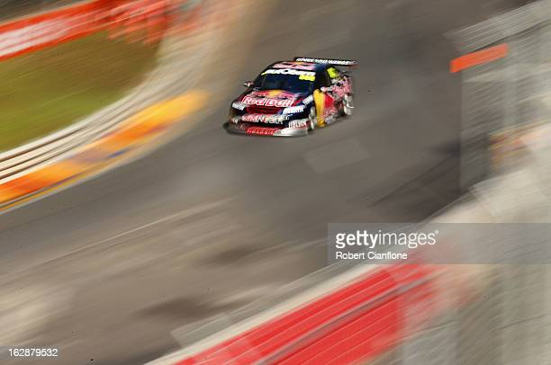 Craig Lowndes drives the Red Bull Racing Australia Holden during practice for the Clipsal 500 which is round one of the V8 Supercar Championship...
