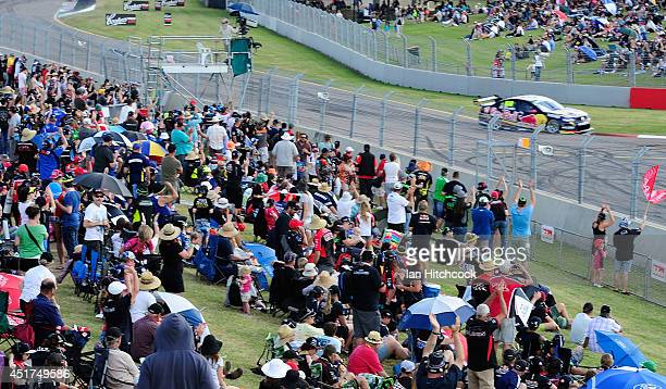 Craig Lowndes drives the Red Bull Racing Australia Holden during the top ten shoot out for race 22 of the Townsville 500 which is round seven of the...