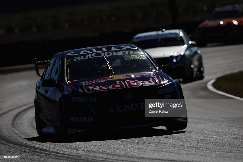 Craig Lowndes drives the #888 Red Bull Racing Holden VF Commodore during a practice session for the V8 Supercars Tasmania SuperSprint at Symmons Plains Raceway on March 28, 2015 in Launceston, Australia.