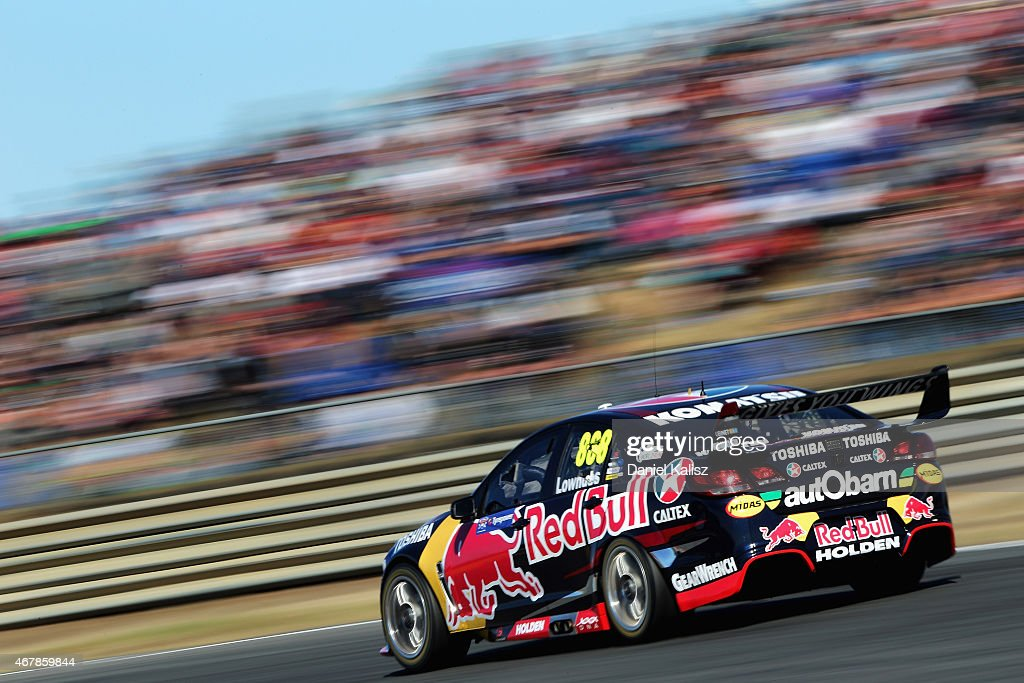 Craig Lowndes drives the #888 Red Bull Racing Holden VF Commodore during race 1 for the V8 Supercars Tasmania SuperSprint at Symmons Plains Raceway on March 28, 2015 in Launceston, Australia.