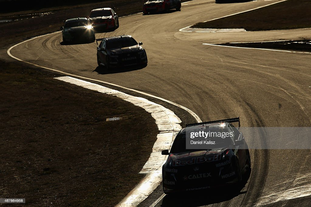 Craig Lowndes drives the #888 Red Bull Racing Holden VF Commodore reacts after winning race 2 for the V8 Supercars Tasmania SuperSprint at Symmons Plains Raceway on March 28, 2015 in Launceston, Australia.