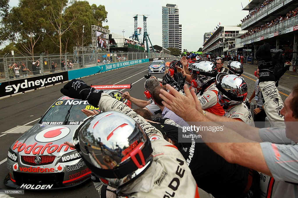 Craig Lowndes drives the #888 Team Vodafone Holden to win race 29 during the Sydney 500, which is round 15 of the V8 Supercars Championship Series at Sydney Olympic Park Street Circuit on December 1, 2012 in Sydney, Australia.