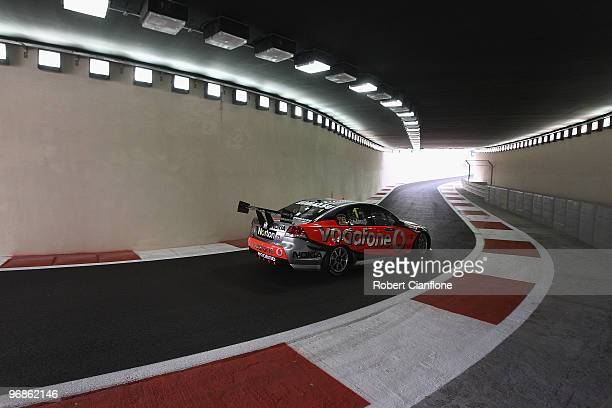 Craig Lowndes drives the TeamVodafone Holden during qualifying for round one of the V8 Supercar Championship Series at Yas Marina Circuit on February...