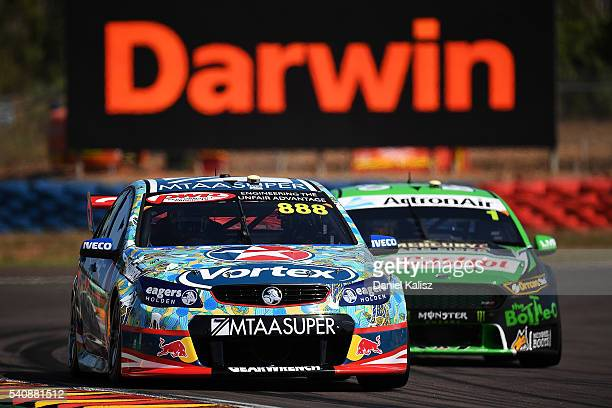 Craig Lowndes drives the TeamVortex Holden Commodore VF during V8 Supercars practice ahead of the Darwin Triple Crown at Hidden Valley Raceway on...