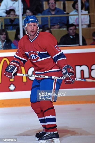Craig Ludwig of the Montreal Canadiens skates against the Toronto Maple Leafs during NHL game action on January 27 1990 at Maple Leaf Gardens in...