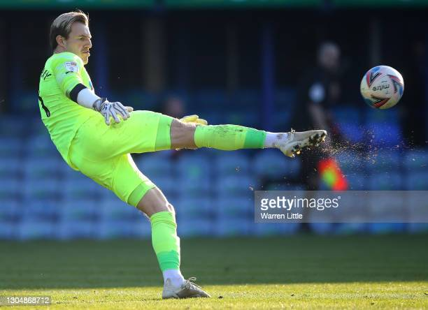 Craig MacGillivray of Portsmouth FC takes a goal kick during the Sky Bet League One match between Portsmouth and Gillingham at Fratton Park on...