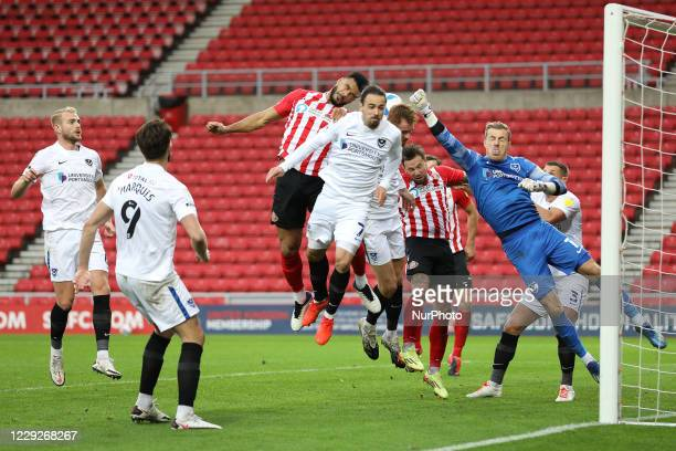 Craig MacGillivray of Portsmouth makes a save during the Sky Bet League 1 match between Sunderland and Portsmouth at the Stadium Of Light Sunderland...