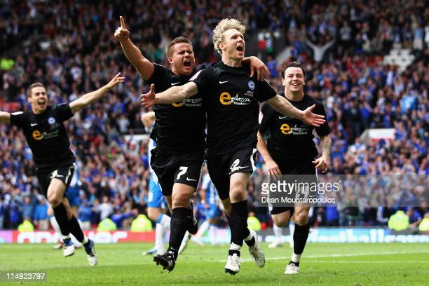 Craig Mackail-Smith of Huddersfield celebrates scoring the second goal of the game with James Wesolowski during the npower League One Play off Final...