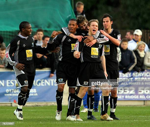 Craig Mackail-Smith of Peterborough celebrates scoring during the FA Cup 2nd Round match between Staines Town and Peterborough United at Wheatsheaf...