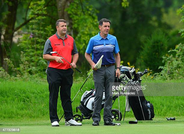 Craig Mackie and Richard Nicoll of Scotscraig Golf Club working together on the 9th during the Lombard Trophy - Scottish Qualifier at Crieff Golf...