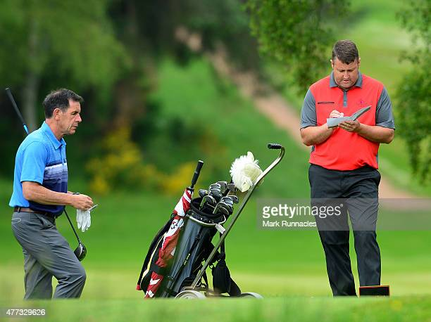 Craig Mackie and Richard Nicoll of Scotscraig Golf Club working together on the 14th tee during the Lombard Trophy - Scottish Qualifier at Crieff...