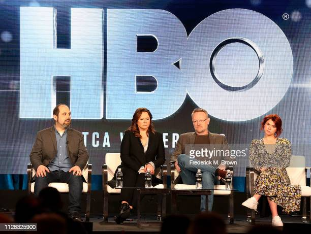 Craig Mazin Emily Watson Jared Harris and Jessie Buckley of television show Chernobyl speak during the HBO segment of the 2019 Winter Television...