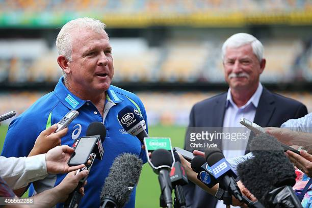 Craig McDermott and Sir Richard Hadlee speak to media during a press conference before the Australia nets session at The Gabba on November 4 2015 in...