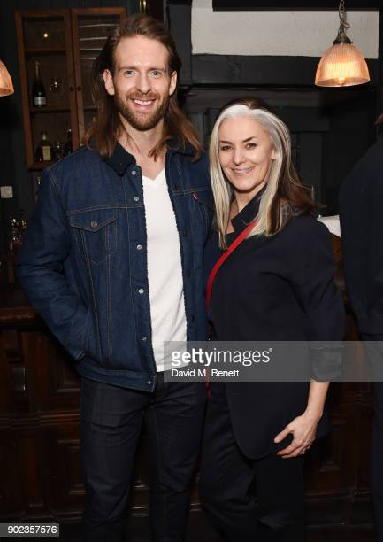 Craig McGinlay and Catherine Hayward attend the LFWM Official Party Pub LockIn during London Fashion Week Men's January 2018 at The George on January...