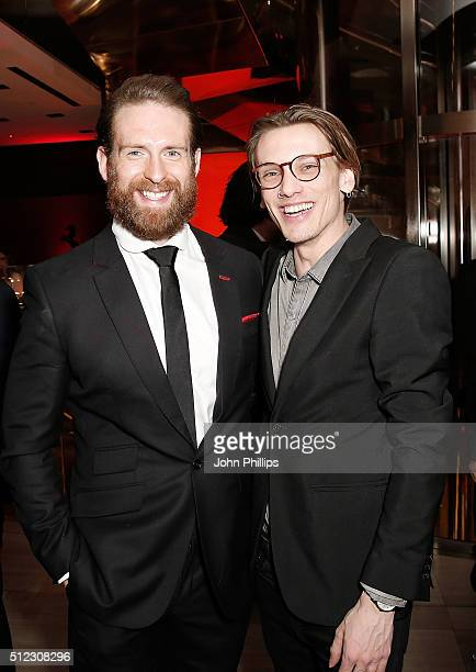 Craig McGinlay and Jamie Campbell Bower attend the UK launch of the Ferrari 488 Spider at Watches of Switzerland on February 25 2016 in London England