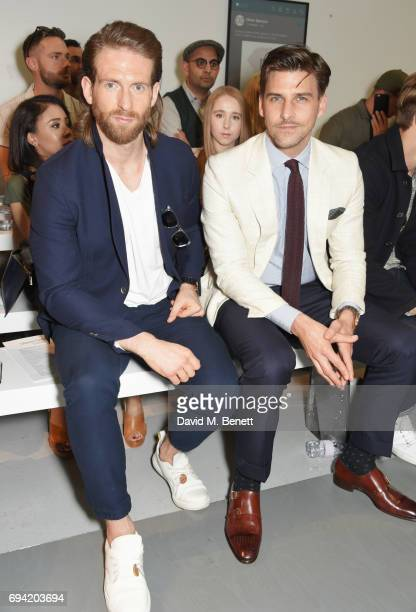 Craig McGinlay and Johannes Huebl attend the Oliver Spencer SS18 Catwalk Show during London Fashion Week Men's June 2017 on June 9 2017 in London...