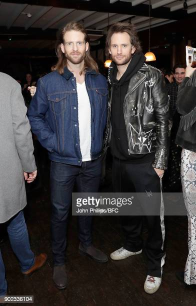 Craig McGinlay and Marc Jacques Burton attend the LFWM Official Party Pub LockIn during London Fashion Week Men's January 2018 at The George on...