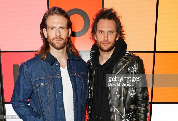 Craig McGinlay and Marc Jacques Burton attend the Topman LFWM party at Mortimer House on January 7 2018 in London England