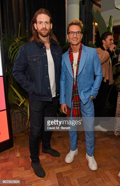 Craig McGinlay and Oliver Proudlock attend the Topman LFWM party at Mortimer House on January 7 2018 in London England