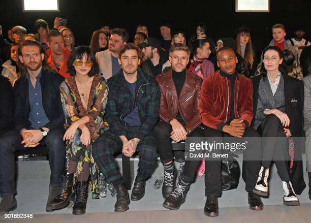 Craig McGinlay Betty Bachz Robert Konjic Darren Kennedy Eric Underwood and Erin OÕConnor sit in the front row at the Oliver Spencer LFWM AW18 Catwalk...