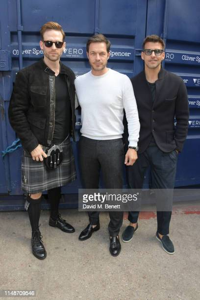 Craig McGinlay, Paul Sculfor and Johannes Huebl attend the Oliver Spencer Menswear SS20 show during London Fashion Week Men's June 2019 on June 9,...