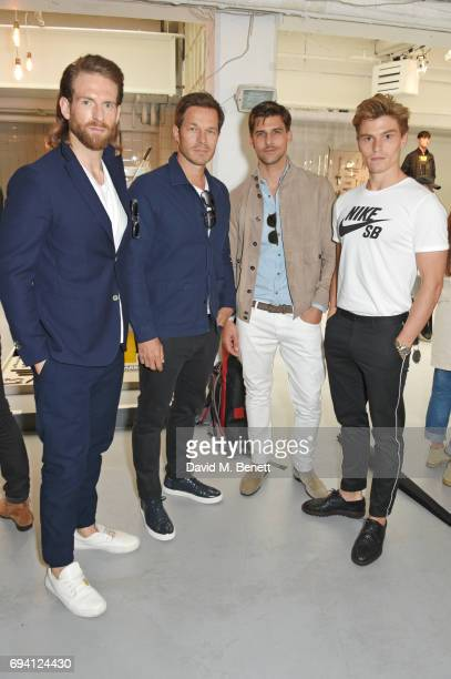 Craig McGinlay Paul Sculfor Johannes Huebl and Oliver Cheshire attend the Barbour International presentation during the London Fashion Week Men's...
