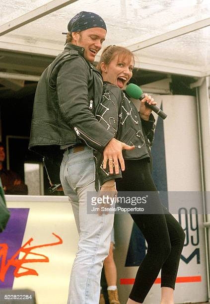 Craig McLachlan and Debbie Gibson performing on stage during the Radio One Roadshow in ClactononSea circa 1993