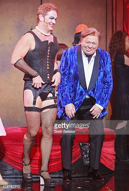 Craig McLachlan as Frank N Furter and Bert Newton as the Narrator talk after performing during a 'Rocky Horror Show' Media Call at the Comedy Theatre...