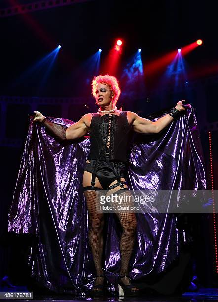 Craig McLachlan performs as the character Frank N Furter during a media call for the Rocky Horror Show at the Comedy Theatre on April 23 2014 in...