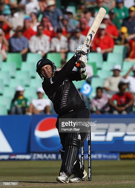 Craig McMillan of New Zealand hits out during the ICC Twenty20 Cricket World Championship Super Eights match between South Africa and New Zealand at...