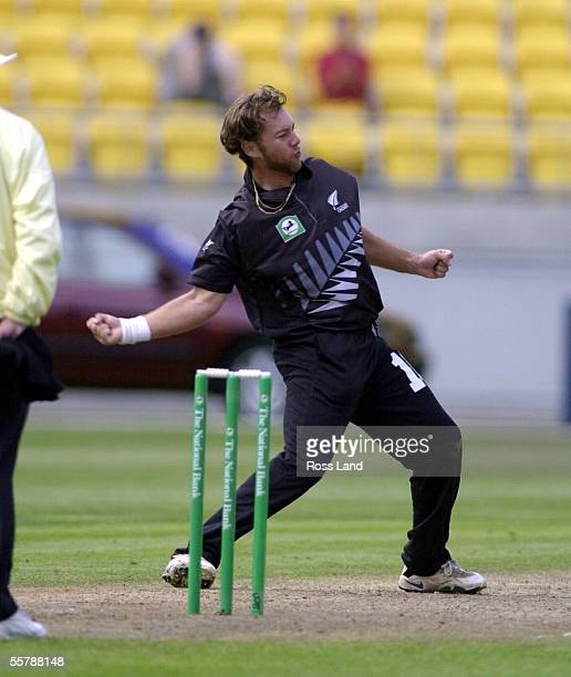 Craig McMillan shows his delight after dismissing Douglas Marillier LBW for one during the second One Day Cricket international between the Black...