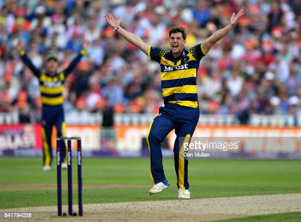 Craig Meschede of Glamorgan appeals successfully for the wicket of Sam Hain of Birmingham during the NatWest T20 Blast SemiFinal match between...