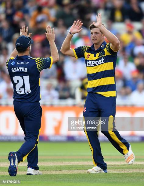 Craig Meschede of Glamorgan celebrates with team mates after dismissing Sam Hain of Birmingham during the NatWest T20 Blast SemiFinal match between...