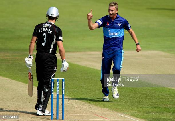 Craig Miles of Gloucestershire celebrates after taking the wicket of Nick Compton of Somerset during the Yorkshire Bank 40 match between...