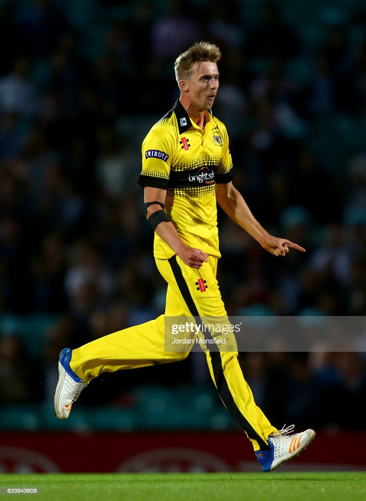 Craig Miles of Gloucestershire celebrates bowling out Sam Curran of Surrey during the NatWest T20 Blast match between Surrey and Gloucestershire at The Kia Oval on August 17, 2017 in London, England.