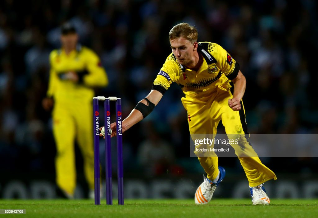 Craig Miles of Gloucestershire dives to run out Rikki Clarke of Surrey during the NatWest T20 Blast match between Surrey and Gloucestershire at The Kia Oval on August 17, 2017 in London, England.