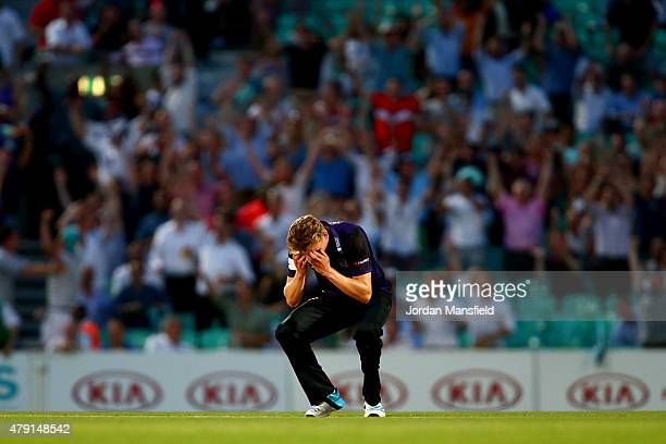 Craig Miles of Gloucestershire holds his head in his hands after giving up 6 runs on the final ball to lose the Natwest T20 Blast match between...