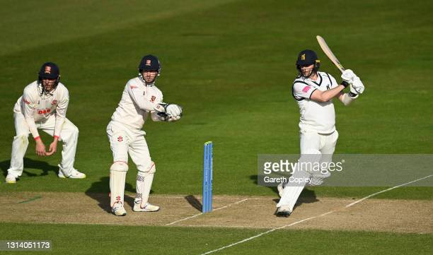 Craig Miles of Warwickshire bats during the LV= Insurance County Championship match between Warwickshire and Essex at Edgbaston on April 23, 2021 in...
