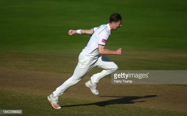 Craig Miles of Warwickshire celebrates after taking the wicket of Lewis Gregory of Somerset during Day Four of the LV= Insurance County Championship...