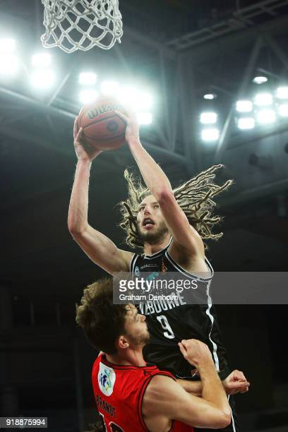 Craig Moller of Melbourne United drives at the basket during the round 19 NBL match between Melbourne United and the Perth Wildcats at Hisense Arena...