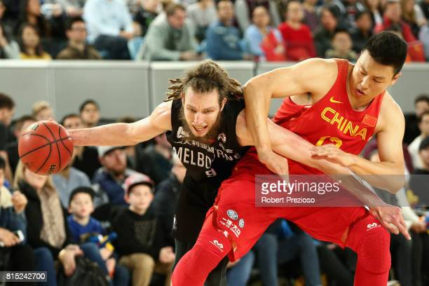 Craig Moller of Melbourne United drives to the basket during the match between Melbourne United and China at Melbourne Park on July 16 2017 in...