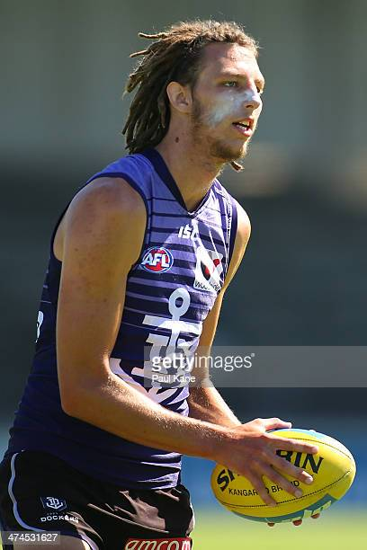 Craig Moller of the Dockers looks on during a Fremantle Dockers AFL training session at Fremantle Oval on February 24 2014 in Fremantle Australia