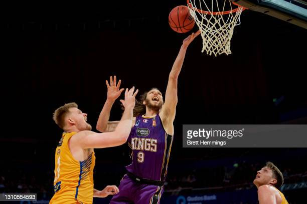 Craig Moller of the Kings lays up the ball during the round 12 NBL match between the Sydney Kings and Brisbane Bullets at Qudos Bank Arena, on April...