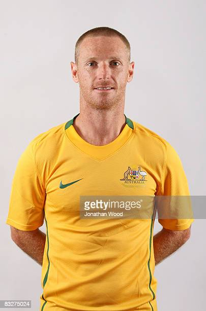 Craig Moore poses during the Australian Socceroos portrait session at the Sofitel Grand Central on October 13 2008 in Brisbane Australia