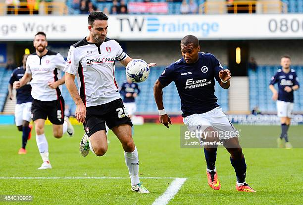 Craig Morgan of Rotherham United and Jermaine Easter of Millwall FC during the Sky Bet Championship match between Millwall and Rotherham United at...