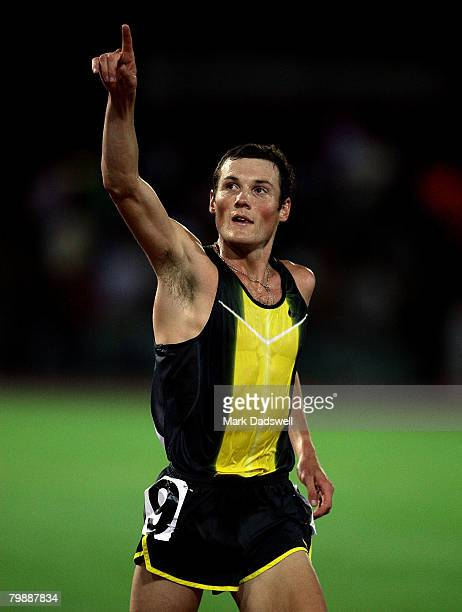Craig Mottram of Australia celebrates after winning the Mens 5000 Metres during the Melbourne Athletics Grand Prix IAAF World Athletics Tour meeting...
