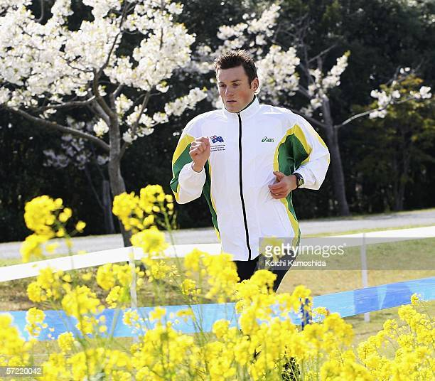 Craig Mottram of Australia runs during an exercise at the 34th IAAF World Cross Country Championship on March 31 2006 in Fukuoka Japan The event...