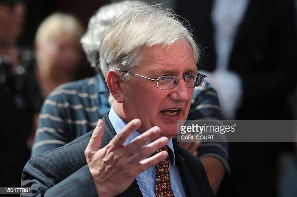 Craig Murray, the former British ambassador to Uzbekistan and a supporter of Julian Assange, speaks to the media outside the Ecuadorian Embassy in...